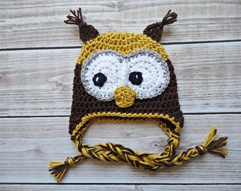 Crochet Owl Hat, Newborn Owl hat, Baby Owl hat, owl hat