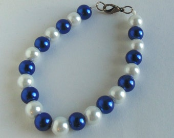 White and royal blue bracelet