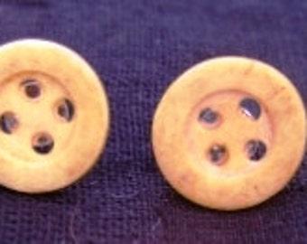 Small Yellow Matte Button Earrings