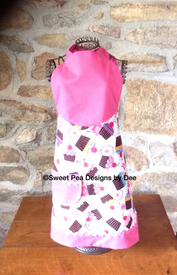 Cupcake apron, pink toddler girls, reversible for little girls, cooking with kids,