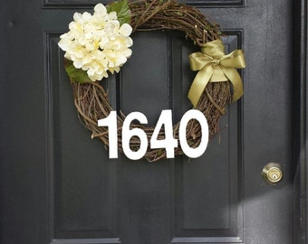 Cream Hydrangea Grapevine Wreath with Custom Address-18 inch