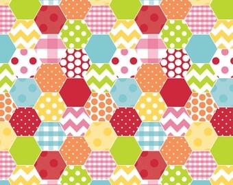 Hexi Print Hexi in Rainbow - Riley Blake - Cotton fabric - Choose your cut
