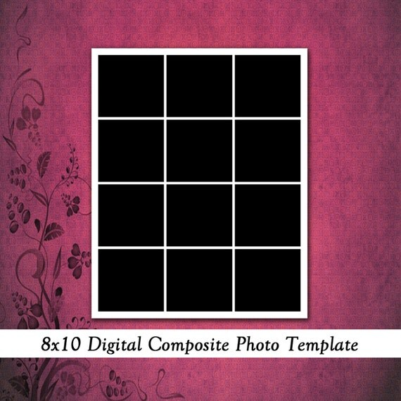 8x10 digital photo template photo collage scrapbook for Photo collage number templates