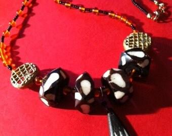 Handcrafted Africian Batik Bone Amber Necklace