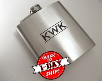 Flask - Engraved Flask - QUICK SHIP - Personalized Gift for Groomsman - Best Man - Monogrammed Flask - Personalized Flask Engraved Flask