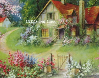 1920s Shabby Print Cottage with Flowers