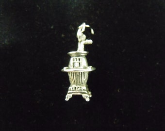 Sterling Silver Potbelly Stove 3D Charm/Pendant  - .925 4.1 grams