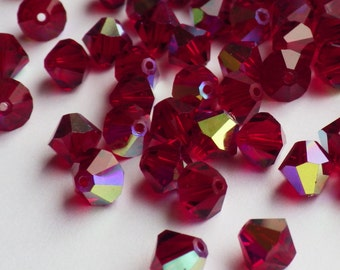 Vintage Swarovski Crystal Beads, 6mm Siam With Aurore Boreale Finish, Article 5301, 25 Vintage Crystal Beads