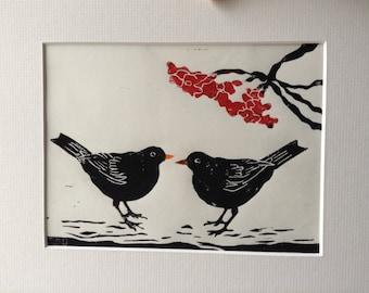 Blackbirds and berries original hand printed linocut on Japanese botan paper