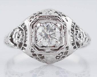 Filigree Engagement Ring Antique Art Deco .50 ct Round Brilliant Diamond in 18k White Gold