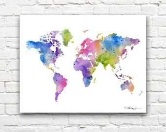World Map Art Print - Abstract Watercolor Map - Wall Decor