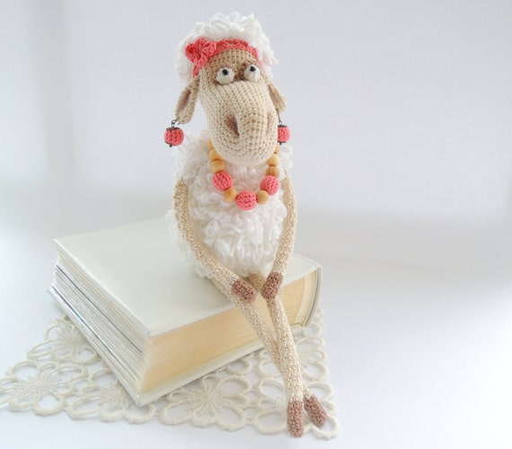 Crochet art doll Mrs. Sheep Cute stuffed animals Soft toy for baby Holiday gift child Gift ideas Morther Day