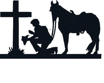 BUY 2, GET 1 FREE - Machine Embroidery Design - Cowboy Kneeling at Cross With Horse Silhouette - Christian Cowboy Praying Embroidery Design
