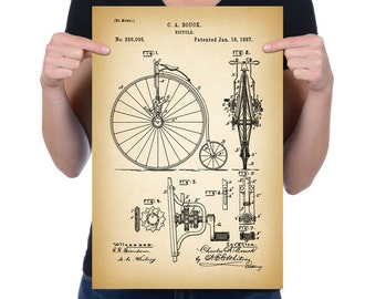 """Vintage 1887 """"Bicycle"""" Patent Drawing, Retro Art Print Poster, Canvas, Wall Art, Home Decor, Old Fashion Bike, Cycling, Gift Idea"""