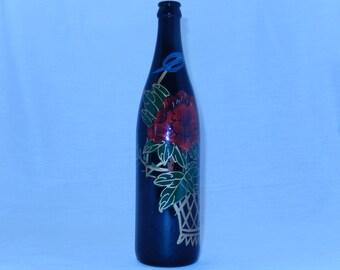 Hand painted vintage wine bottle