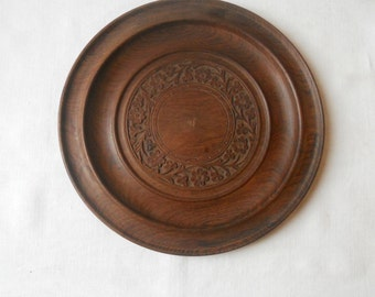 Hand carved antique wooden bowl tray plate with floral marquetry