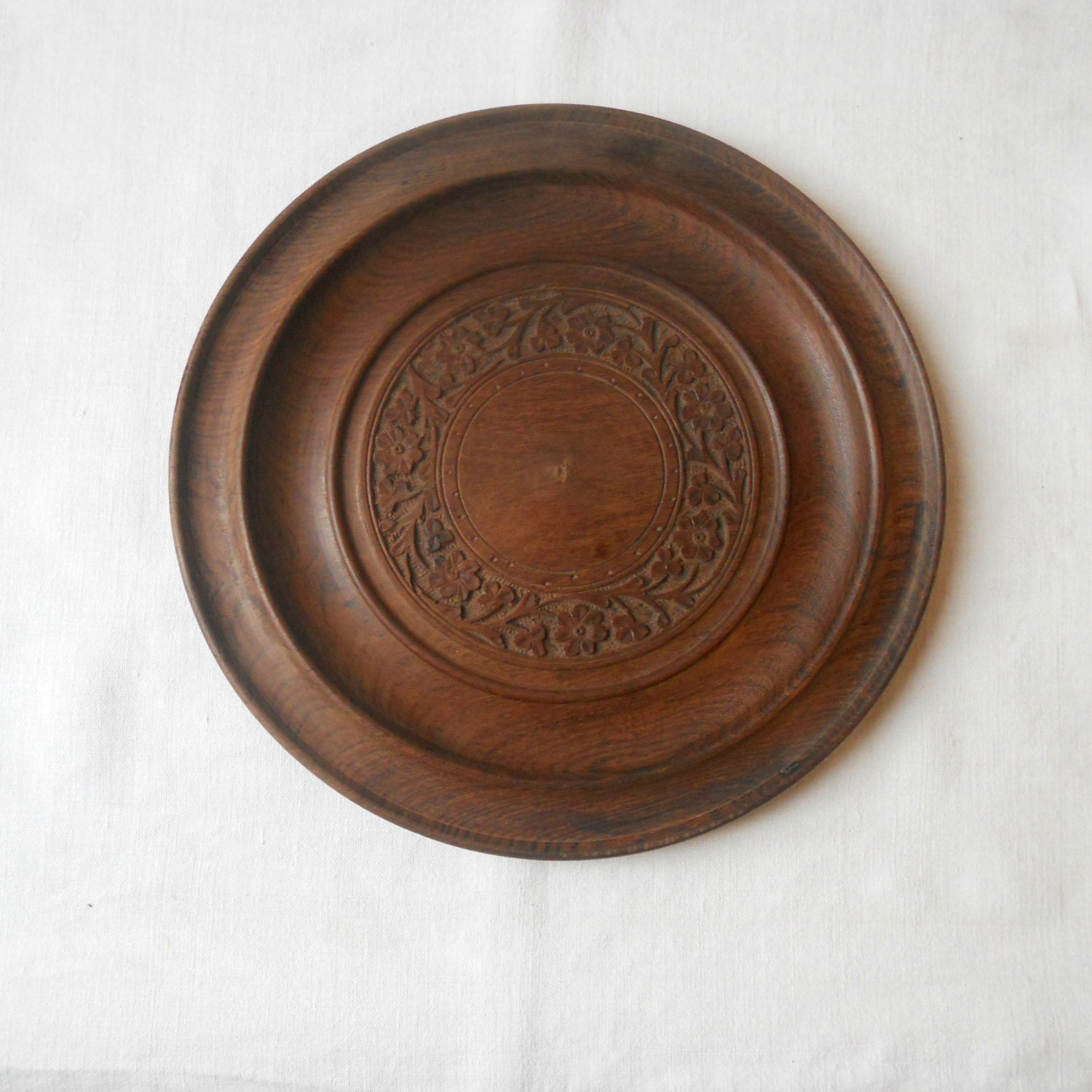 Hand Carved Antique Wooden Bowl Tray Plate With Floral