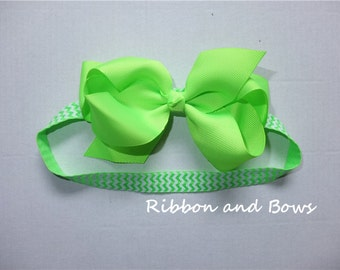 Interchangeable Headbands, fold over elastic hairbands, printed Chevron FOE headband with classical grosrain hairbows