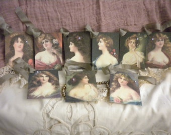 Set of 9 Petite Gift Tags Victorian Women
