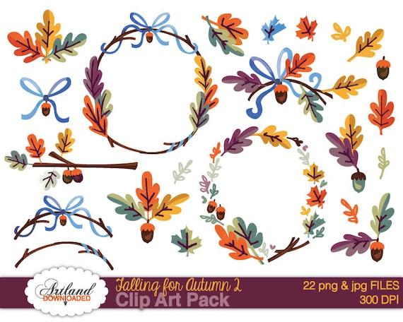Fall Autumn Frame Borders Wreath Digital ClipArt Instant
