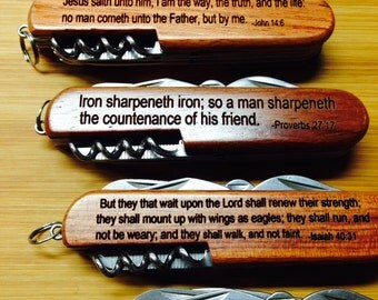 Bible Verse Pocket Knife - Laser Engrave your favorite verse - Give to a friend, church member, birthday gift!