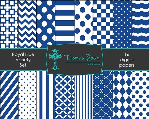 Royal Blue Digital Paper Backgrounds Striped Digital Polka Dot Digital Chevron Digital Quatrefoil Party Papers 8.5 x 11 - Instant Download
