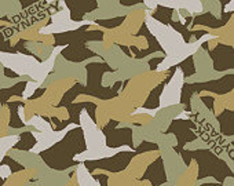 Duck Dynasty Cotton Woven Fabric Green and Olive Camo Duck