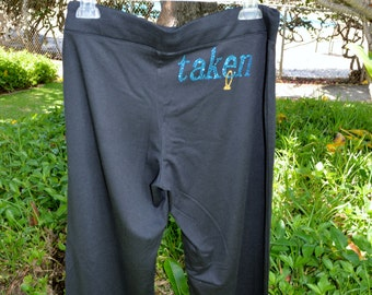 Black Cotton Yoga Pants - blue crystal 'Taken' with gold crystal ring