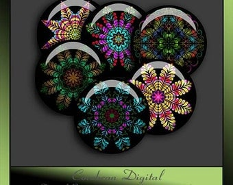 Kaleidoscope Flowers3 collage sheet  for your crafting projects.