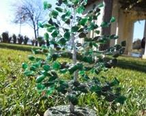 Green Aventurine Feng Shui Crystal Gemstone Wire Bonsai Tree, Christmas Tree Winter Holiday Decoration