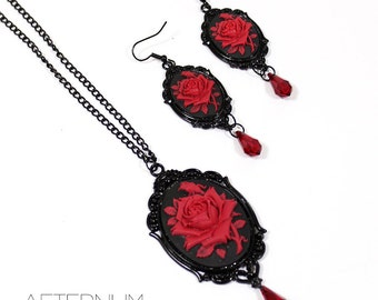 Red rose Gothic set - necklace and earrings in black with cameo and red Swarovski crystal pendants - Victorian Gothic Jewelry