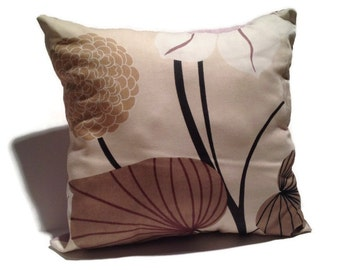 Decorative Throw Pillow  Pink and Brown  Dual-sided  Floral and Stripes