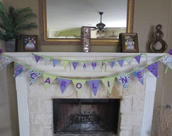 Mini Bunting banner - lilac lavender purple green banner