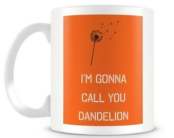 """Orange and Black mug. """"Dandelion"""" mug design."""