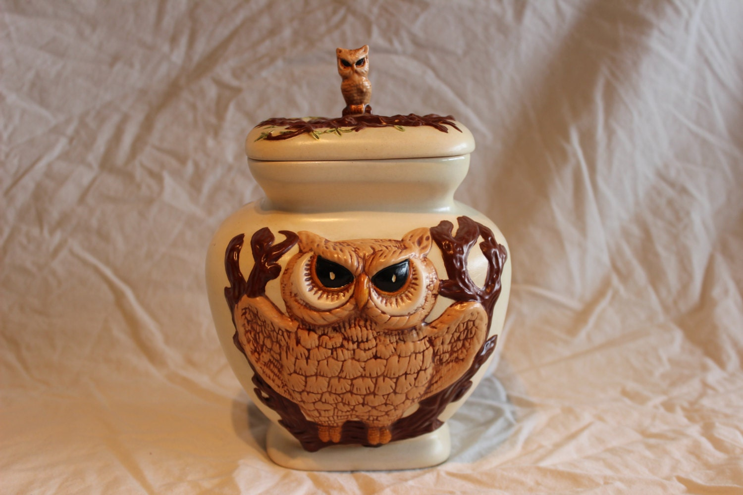 Vintage Two Sided Ceramic Owl Cookie Jar By Alittleowlhouse