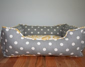 Handcrafted dog or cat bed. Custom made for your best friend. Style: Yellow Damask & Gray Dots