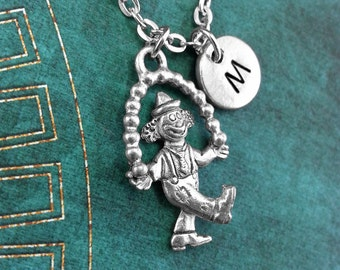 Clown Necklace, Personalized Necklace, Clown Pendant, Custom Necklace, Circus Necklace, Monogram Necklace, Juggler Charm Necklace, Juggling