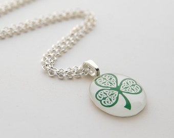 St. Patrick's Day Celtic Clover Shamrock Silver Necklace with Circle Glass Pendant