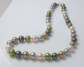 Multicolor Pearl Necklace, Colorful Necklace, Swarovski Pearls, Strand Necklace, Hand Knotted Necklace