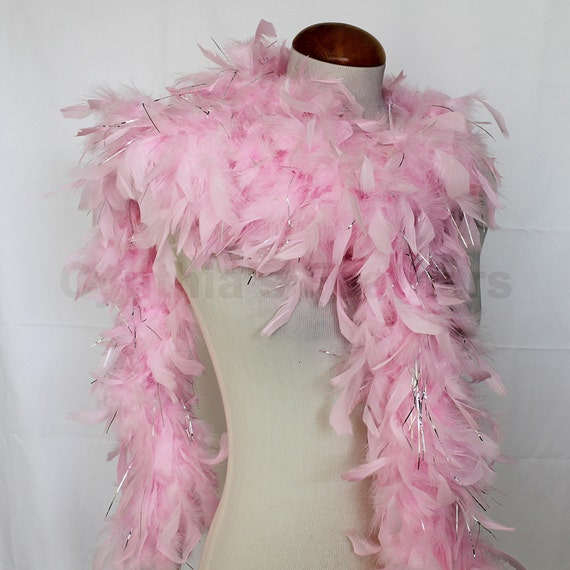 65g 72 Baby Pink W Silver Tinsel Chandelle Feather Boa