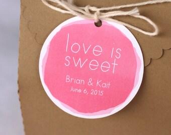 Wedding favour tags, watercolour personalized party favour tags, bridal shower favours