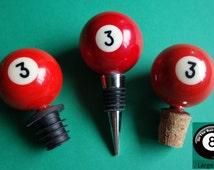 Number 3 Pool/Billiard Ball Wine Bottle Stopper