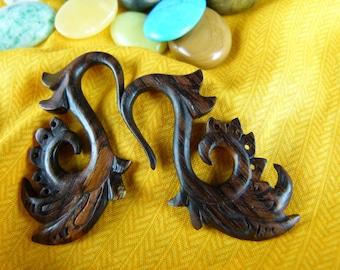 Pair of 4 mm Wood Stretching Earrings -  6 Gauged Hanging Sono Wood Earrings - 6 Gauge Wood Tapers - D003
