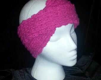 hot pink shimmer split head wrap