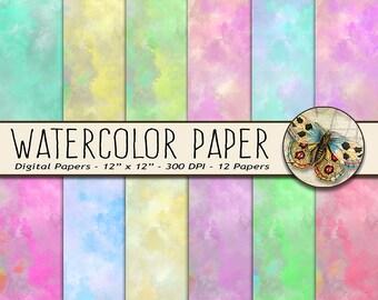 Watercolor Digital Paper, Printable Watercolor Background, Watercolor Backdrop Paper, 12 Colors