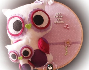 embroidery frame owls Mother's day