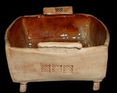 Ceramic Bowl/ Footed Serving Dish With Texture/Square Serving Bowl - Oven to Table - By Leslie Farin