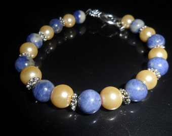Healing Stone Bracelet-  Semi Precious Sodalite and Crystal Glass Pearls - HEAL23
