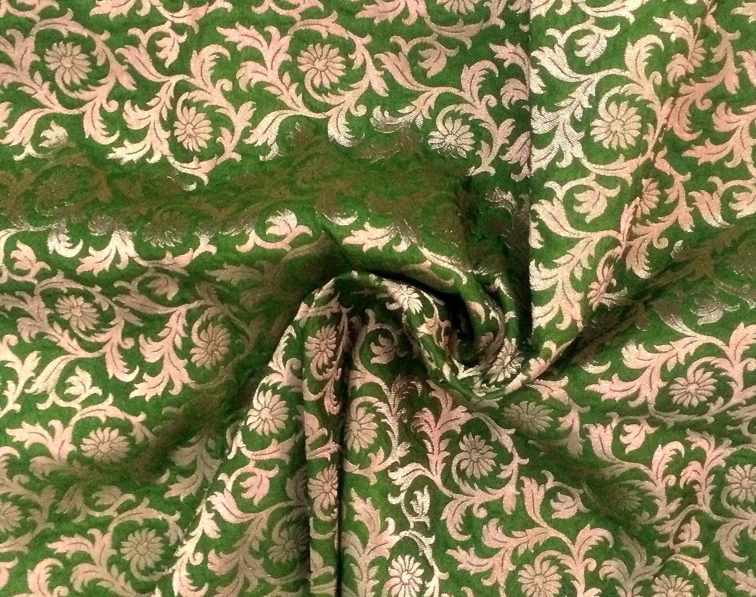 One Yard Indian Silk Brocade Fabric With Floral Pattern Dress