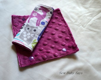 Car Seat Strap Cover Set-Orchid Forest Life and Raspberry Minky-Strap Covers